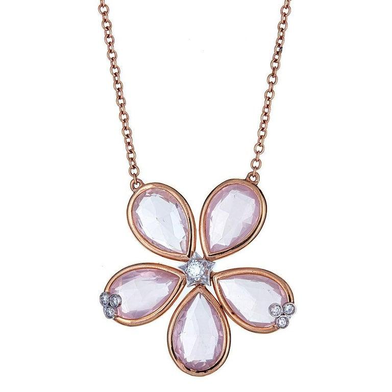 Rose Quartz and 0.14 Carat Diamond 18 Karat Rose Gold Necklace