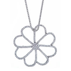 18K White Gold and 4.0 CT Diamond Flower Pendant with 14K White Gold Chain