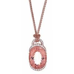64.0 Carat Morganite and 2.45 Carat Diamond Pendant in 14 Karat Rose Gold