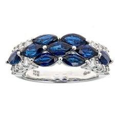 3.41 Carat Sapphire and 0.53 Carat Diamond Ring in 18 Karat White Gold