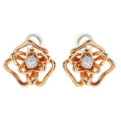 Roberto Coin 18 Karat Rose Gold and 0.34 Carat Diamond Flower Earrings
