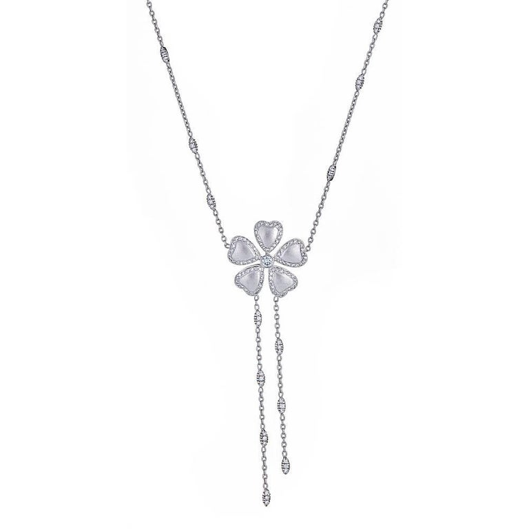 Diamond 18 Karat Gold Flower Necklace