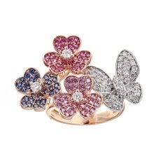 Sapphire and Diamond 14 Karat Gold Butterfly Ring