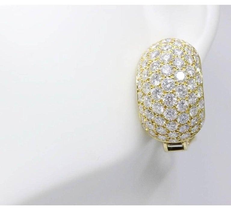 Van Cleef & Arpels Pave Diamond Huggie Earrings in 18 Karat Gold 13.50 Carat For Sale 4