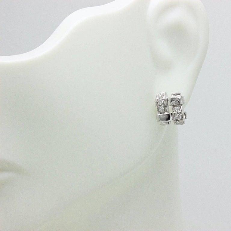 Tiffany & Co. 18 Karat Gold Diamond Vannerie Basket Weave Earrings 0.25 Carat For Sale 4