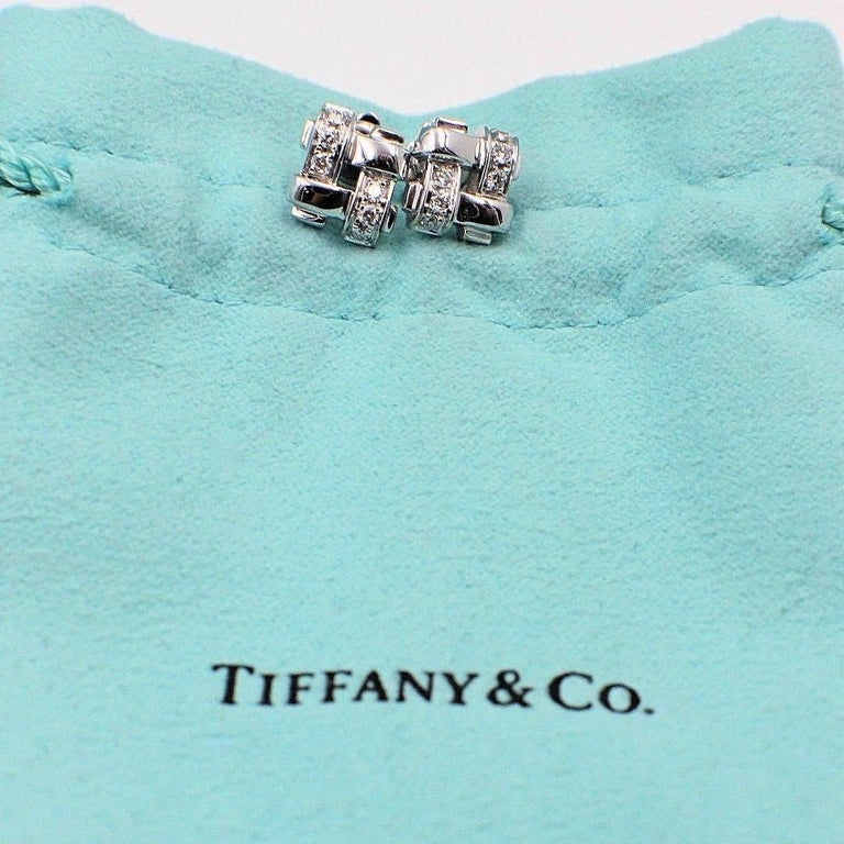 Women's or Men's Tiffany & Co. 18 Karat Gold Diamond Vannerie Basket Weave Earrings 0.25 Carat For Sale