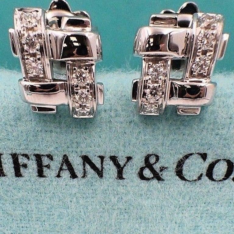 Round Cut Tiffany & Co. 18 Karat Gold Diamond Vannerie Basket Weave Earrings 0.25 Carat For Sale