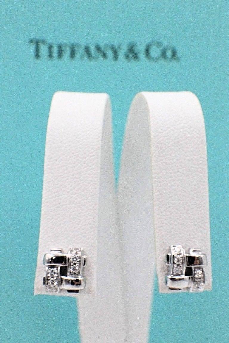 Tiffany & Co. 18 Karat Gold Diamond Vannerie Basket Weave Earrings 0.25 Carat For Sale 3