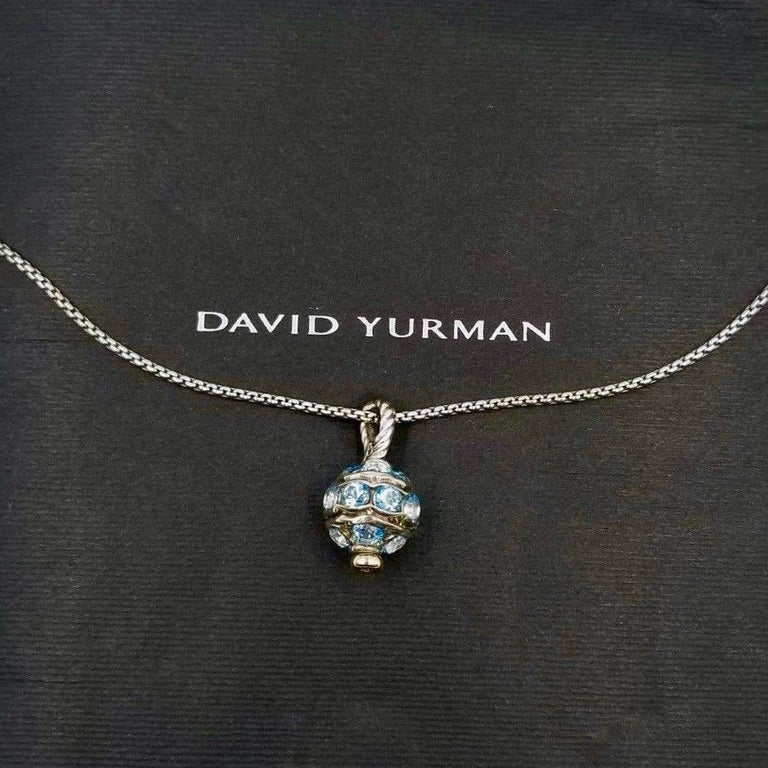 David Yurman Crossover 18k Yellow Gold & Silver Aquamarine Choker Necklace In Excellent Condition For Sale In San Diego, CA