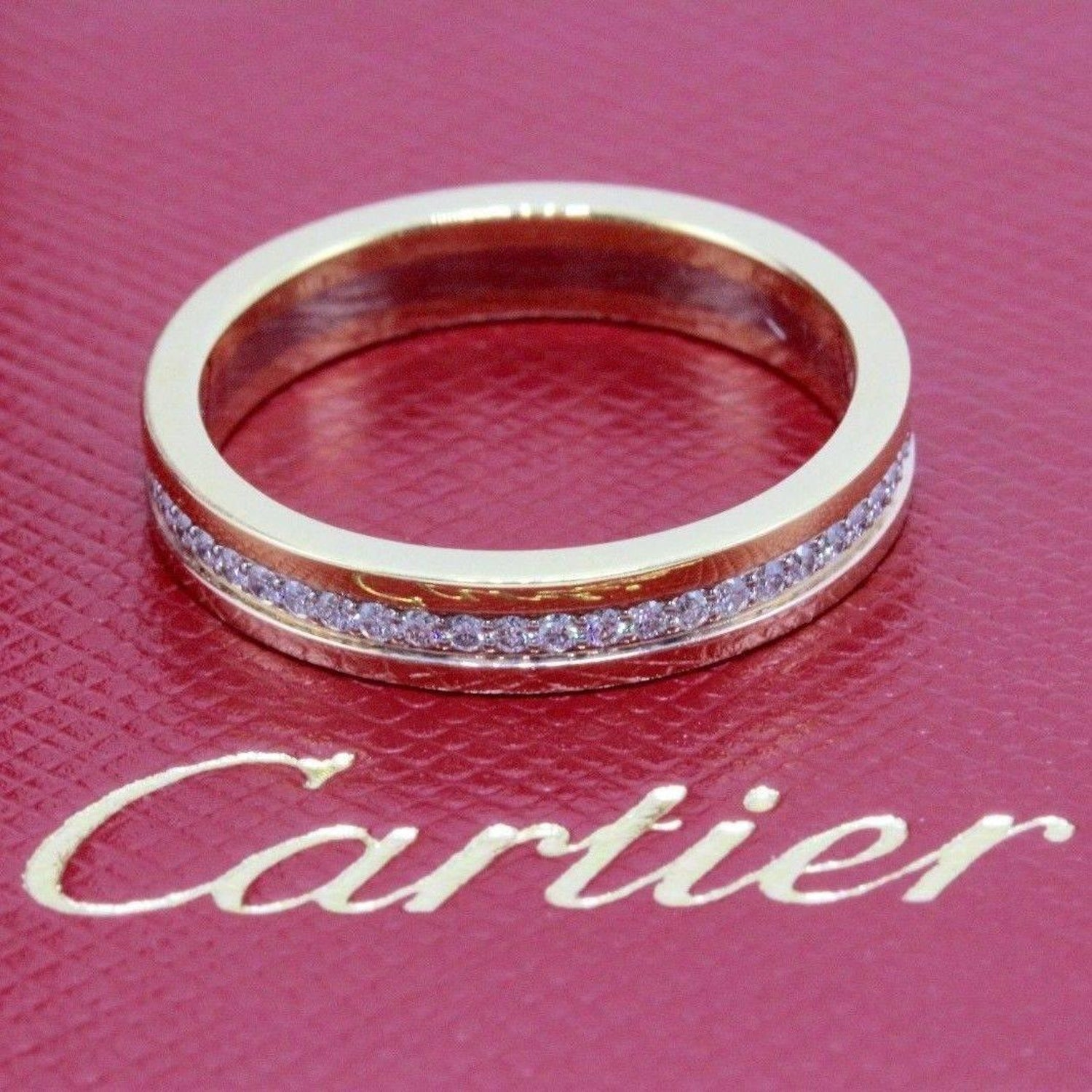 Cartier Trinity Diamond Wedding Band Ring in 18 Karat Yellow and ...