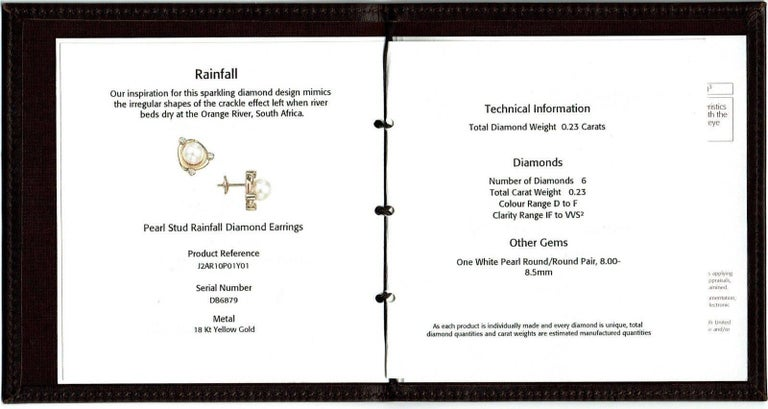 Women's De Beers Rainfall Pearls and Diamond Earrings in 18 Karat Gold with Papers For Sale
