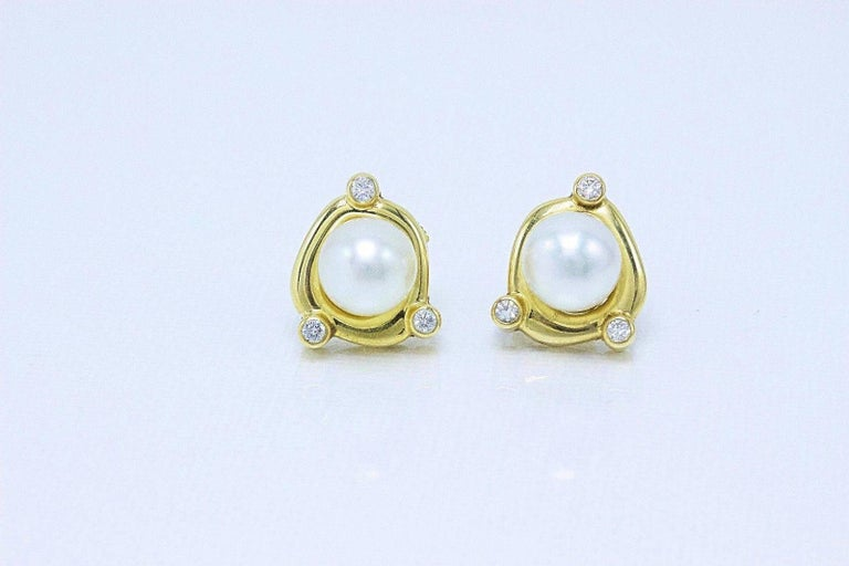 De Beers Rainfall Pearls and Diamond Earrings in 18 Karat Gold with Papers For Sale 1