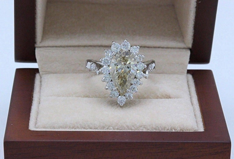 Fancy Brown Pear Shape 3.80 Carat Diamond Engagement Ring in 14 Karat White Gold For Sale 5