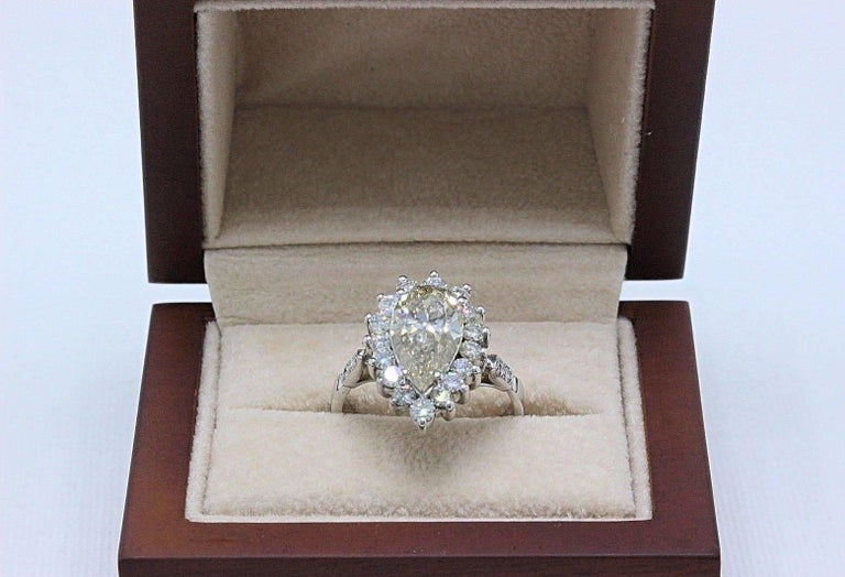 Fancy Brown Pear Shape 3.80 Carat Diamond Engagement Ring in 14 Karat White Gold For Sale 6