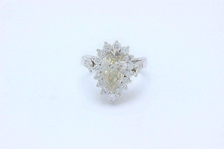Fancy Brown Pear Shape 3.80 Carat Diamond Engagement Ring in 14 Karat White Gold In Excellent Condition For Sale In San Diego, CA