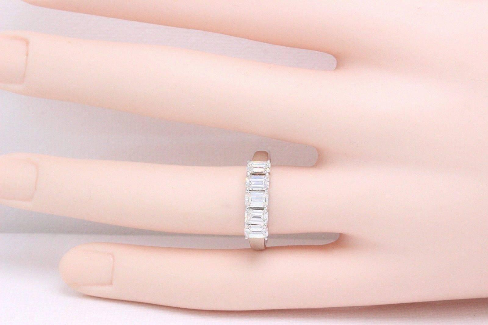 Emerald Five-Stone 1.50 Carat Diamond Wedding Band Ring 14k White ...
