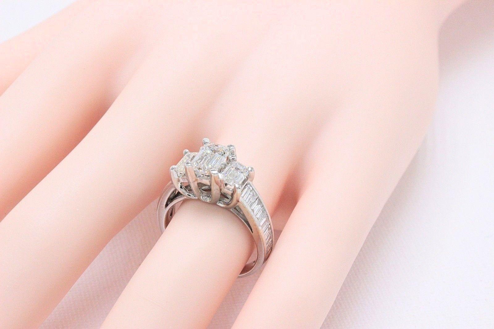 Emerald Cut 3.00 TCW Past Present Future Diamond Engagement Ring 14k ...