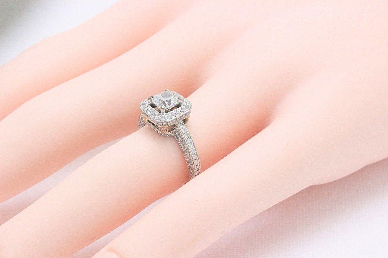 Simon G. Cushion Diamond Pave Ring 1.45 CTS in 18 Karat White Gold ...