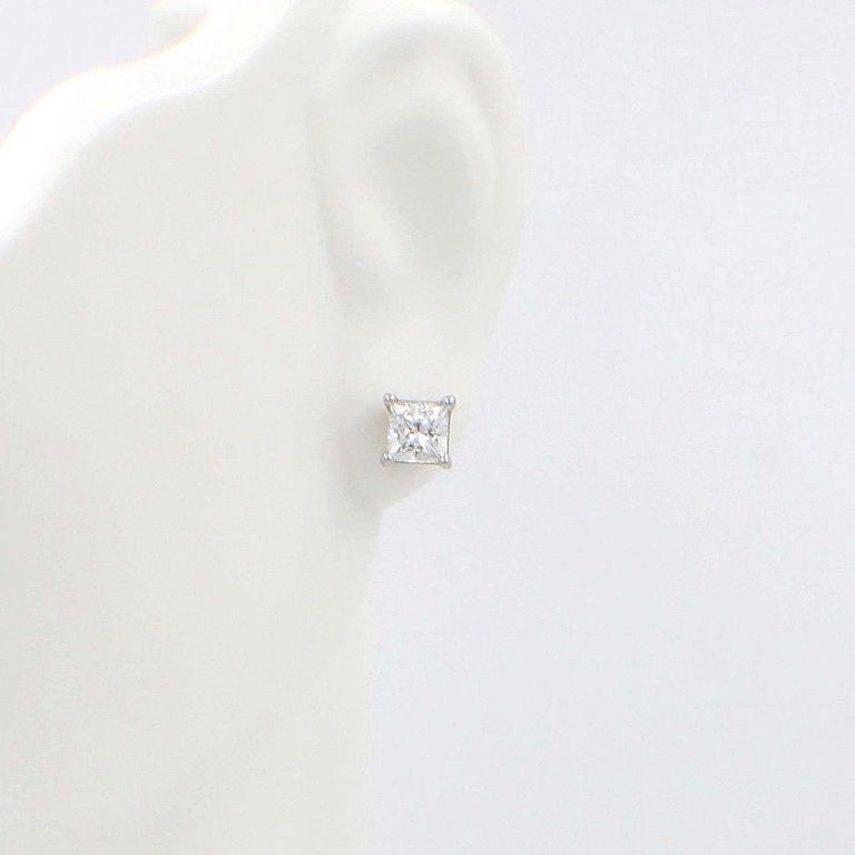 Celebration Princess Diamond Stud Earrings 0.98 TCW 18K White Gold w/Certificate For Sale 6