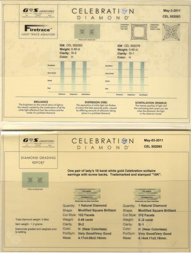 Princess Cut Celebration Princess Diamond Stud Earrings 0.98 TCW 18K White Gold w/Certificate For Sale