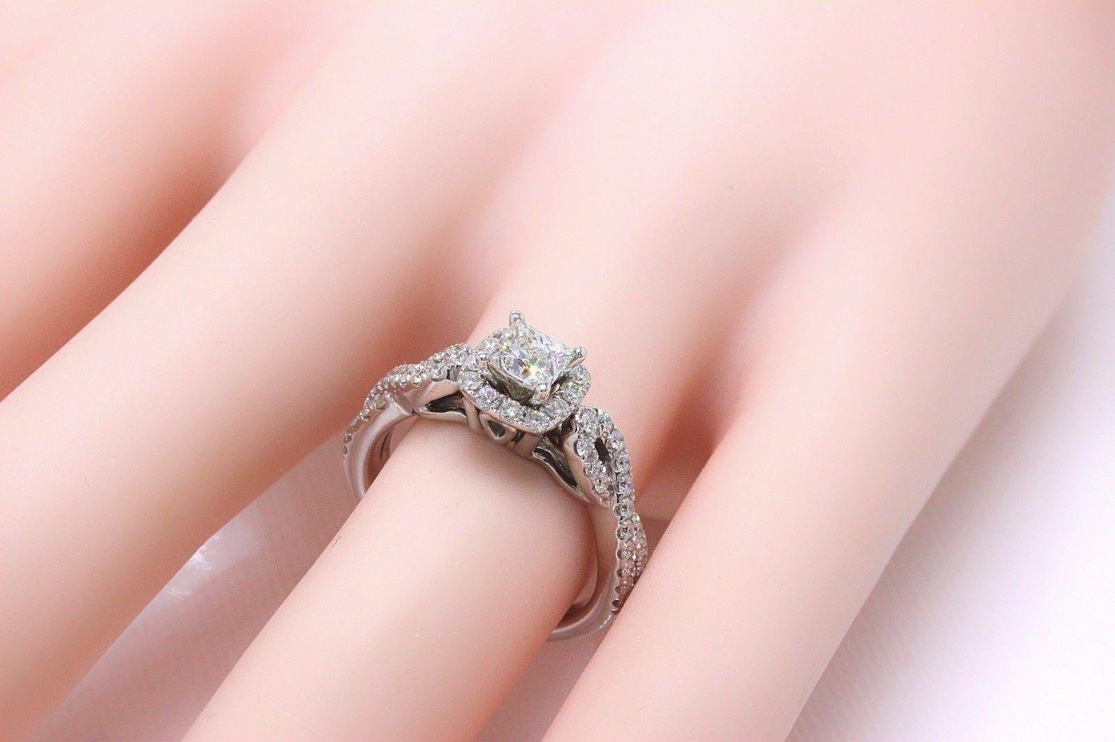 Leo Diamond Engagement Ring Princess 1.22 TCW Twist Diamond Band 14k ...