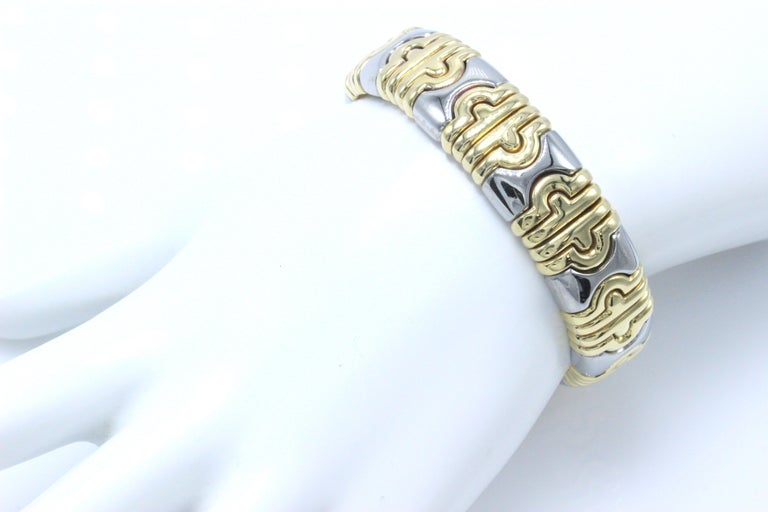 Bvlgari Parentesi Cuff Bracelet 18k Yellow & White Gold 15mm 15k Value In Excellent Condition For Sale In San Diego, CA