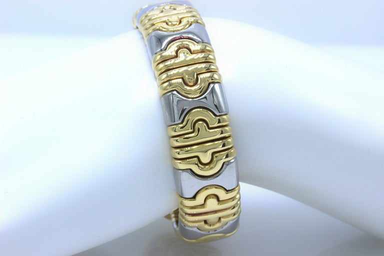 Bvlgari Parentesi Cuff Bracelet 18k Yellow & White Gold 15mm 15k Value For Sale 3
