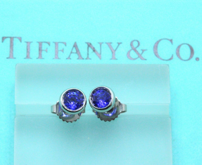 Tiffany & Co. Elsa Peretti Sapphire Color, the Yard Earrings 0.70 Carat Platinum For Sale 3