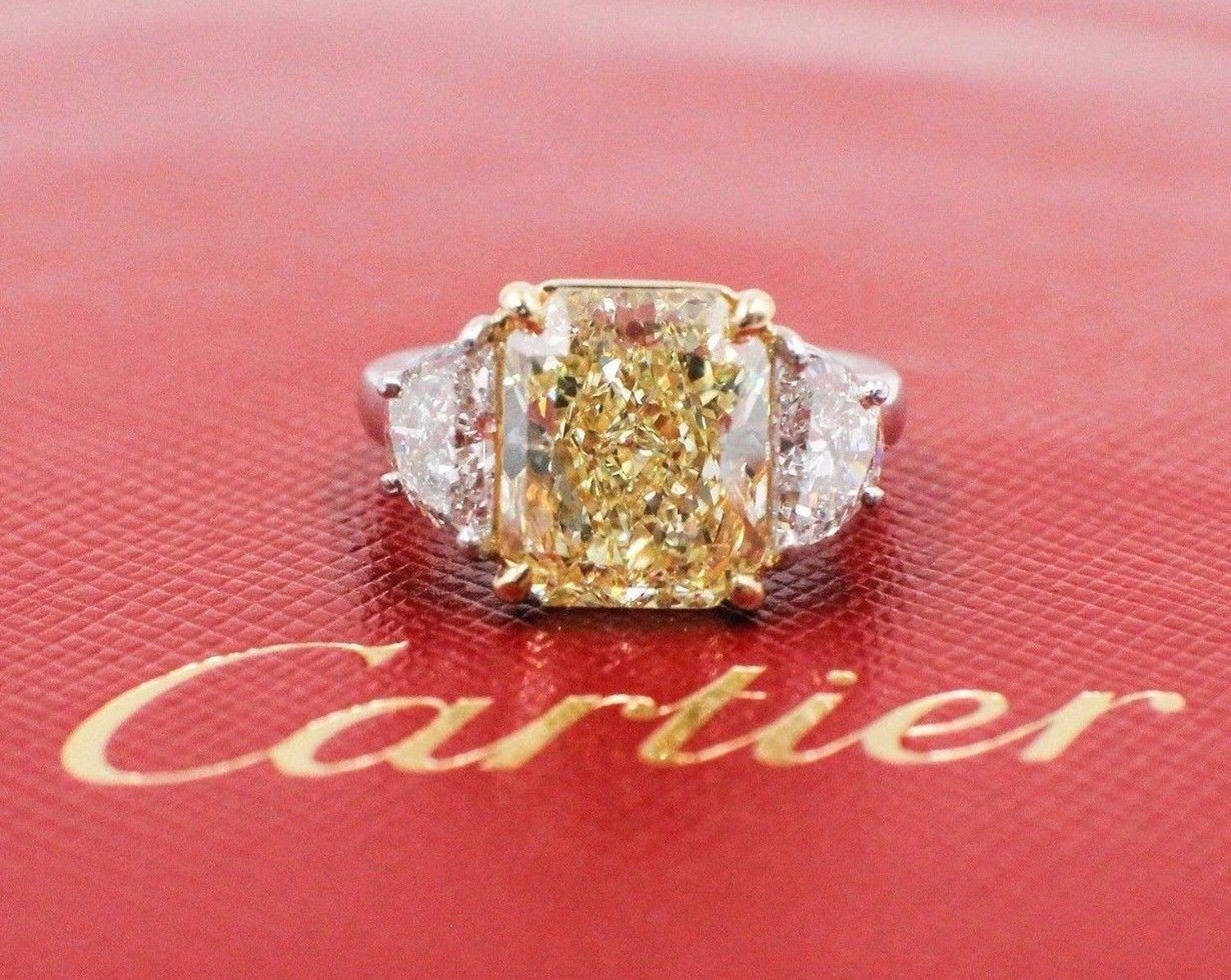 Cartier 6.36 Carat Fancy Yellow Radiant Diamond Platinum Diamond ...