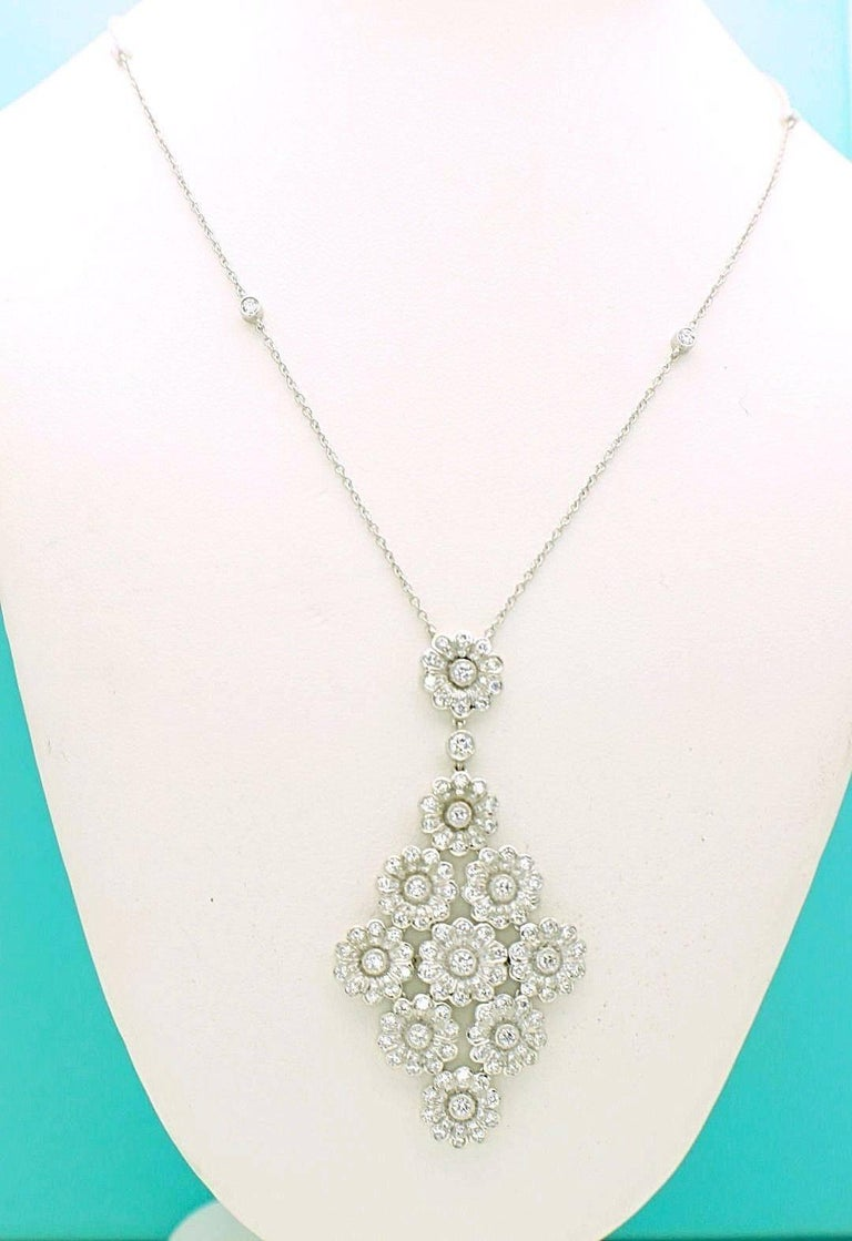 Round Cut Tiffany & Co. Diamond Platinum Flower Daisy Cluster Pendant Necklace For Sale