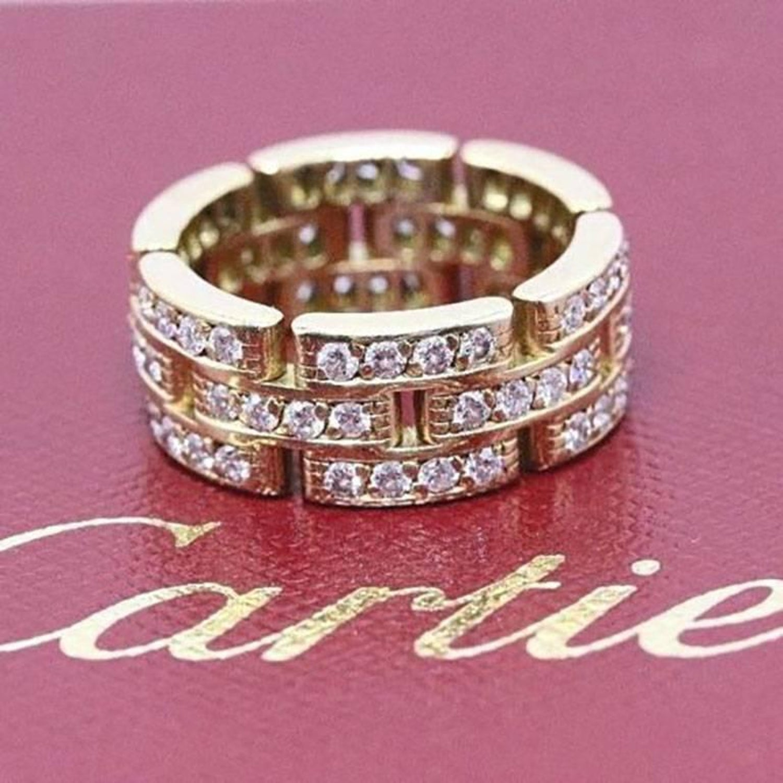 Cartier Maillon Panthere Link Diamond Three-Row 18 Karat Wedding ...