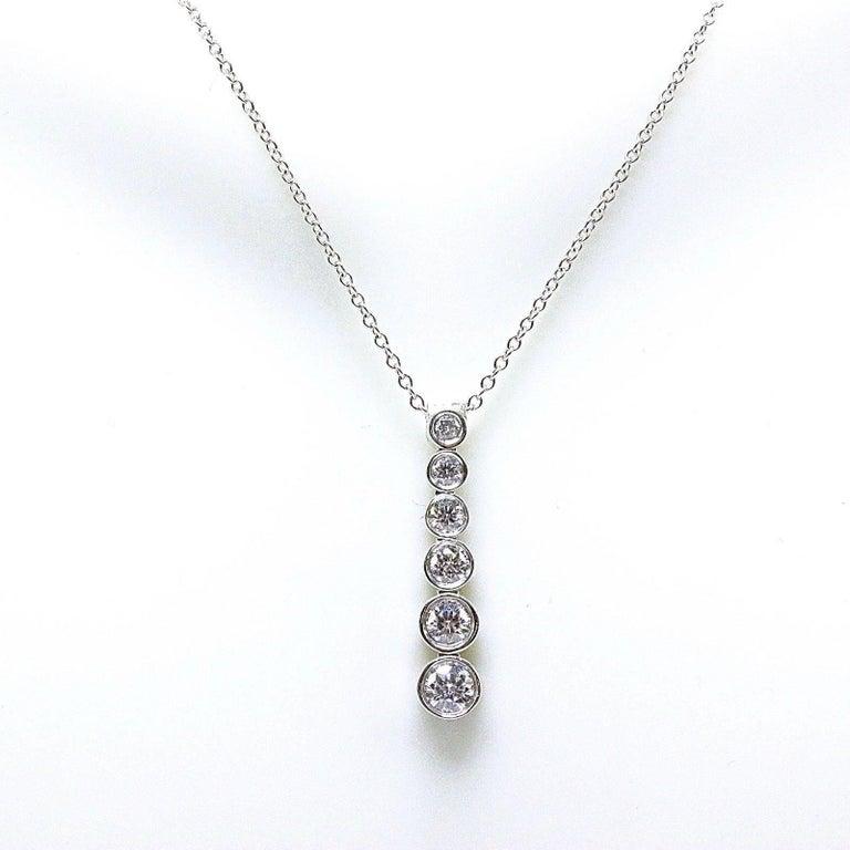 Tiffany & Co. Diamond Jazz Graduated Drop Pendant Necklace in Platinum 0.50 TCW For Sale 3