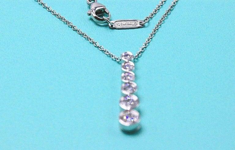 Tiffany & Co. Diamond Jazz Graduated Drop Pendant Necklace in Platinum 0.50 TCW For Sale 4