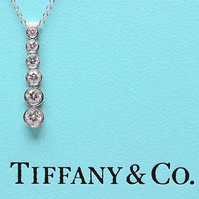Tiffany & Co. Diamond Jazz Graduated Drop Pendant Necklace in Platinum 0.50 TCW For Sale 1