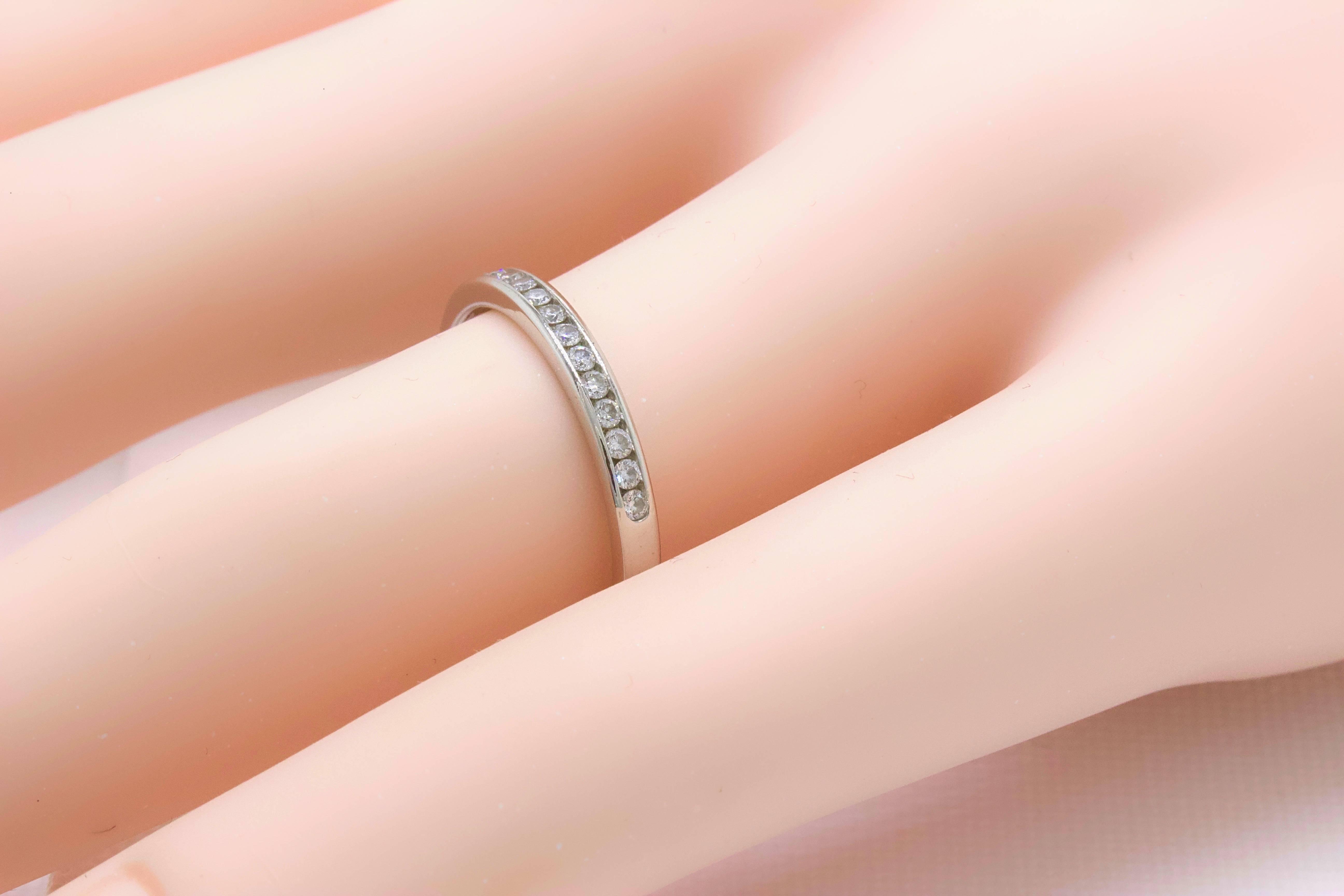 Tiffany and Co. Round Brilliant Diamond and Platinum Wedding Band ...