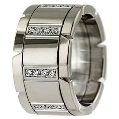 Cartier Tank Franchise Diamond Wedding Band Ring 18 Karat White Gold