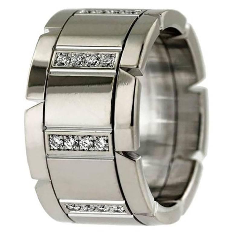 Cartier Tank Franchise Diamond Wedding Band Ring 18 Karat White Gold