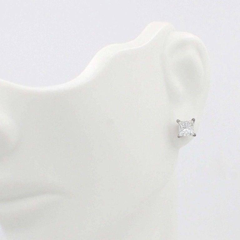 Women's Princess Cut Diamond Stud Earrings 1.21 Carat Set in 14 Karat White Gold For Sale