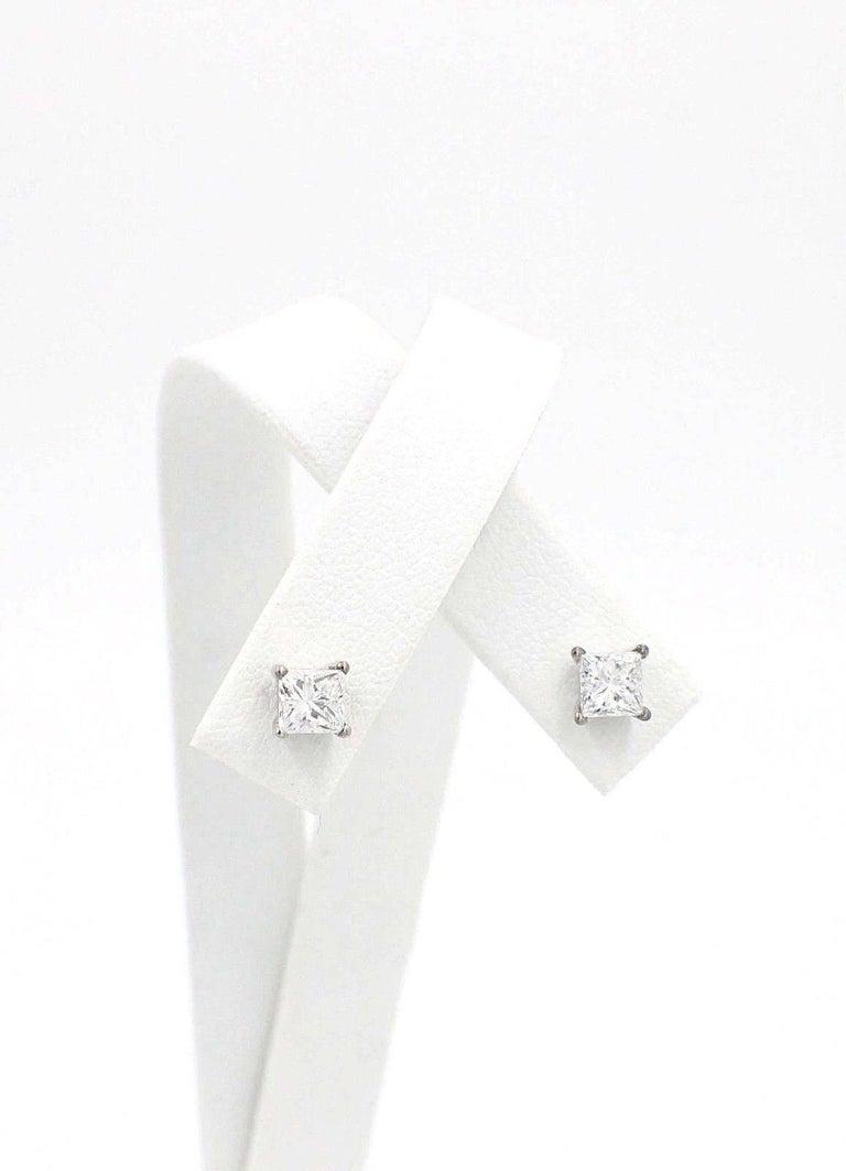 Princess Cut Diamond Stud Earrings 1.21 Carat Set in 14 Karat White Gold For Sale 3