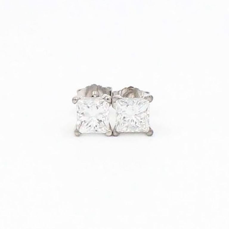 Princess Cut Diamond Stud Earrings 1.21 Carat Set in 14 Karat White Gold For Sale 5