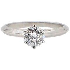 Tiffany & Co. Round Brilliant 0.70 cts H VVS2 Diamond Platinum Solitaire Ring