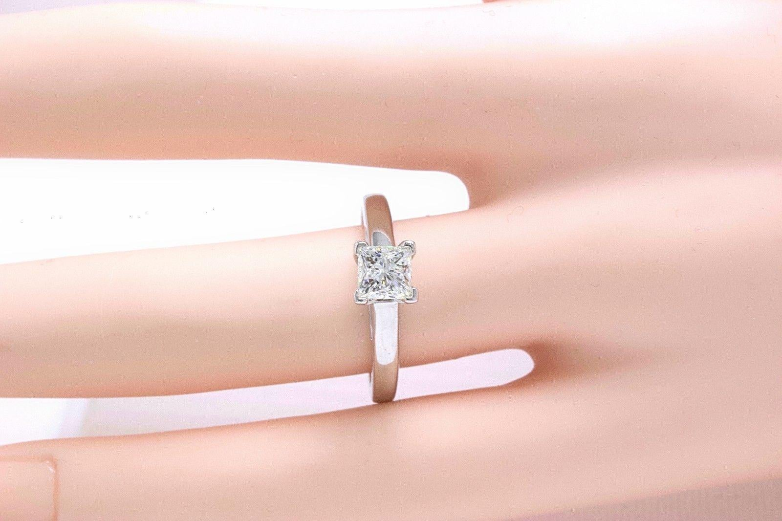 Leo Princess Cut Diamond Solitaire Engagement Ring 0.83 CT I SI1 14k ...
