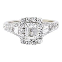 Neil Lane Emerald Cut Diamond 1 7/8 Carat Engagement Ring 14 Karat White Gold