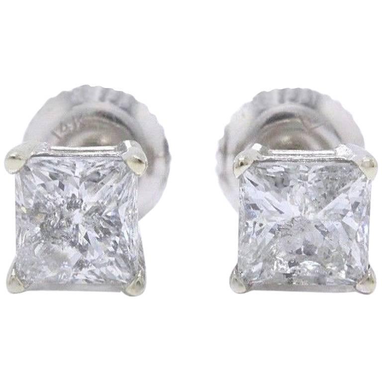 Princess Cut Diamond Stud Earrings 1.60 Carat Set in 14 Karat White Gold For Sale