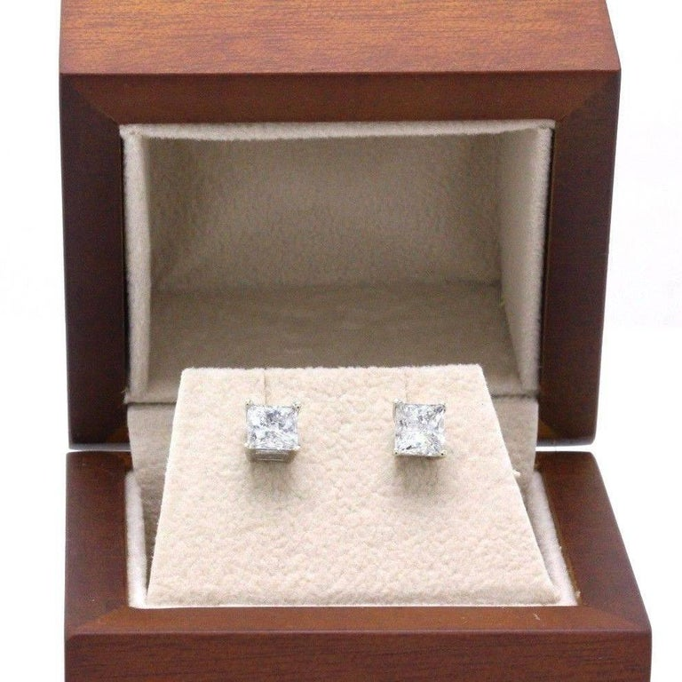Princess Cut Diamond Stud Earrings 1.60 Carat Set in 14 Karat White Gold For Sale 3