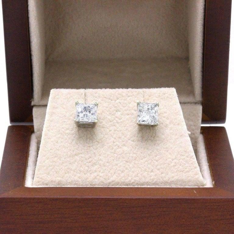 Princess Cut Diamond Stud Earrings 1.60 Carat Set in 14 Karat White Gold For Sale 4