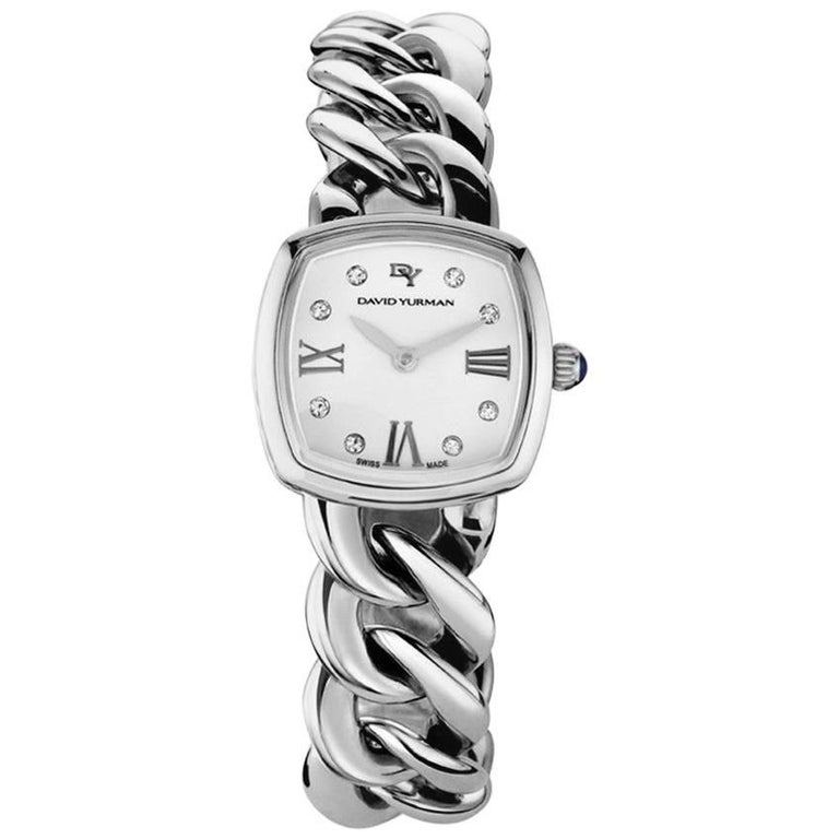 David Yurman Albion Stainless Steel Quartz Watch with Diamonds White Face