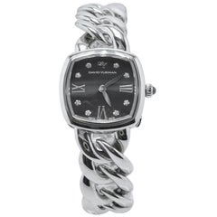 David Yurman Albion Stainless Steel and Quartz Watch with Diamond Black Face