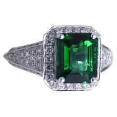 3.05 Carat Tsavorite Diamond Cocktail Ring in 18K White Gold