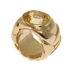 Yellow Sapphire Gold Ring Signed JAR